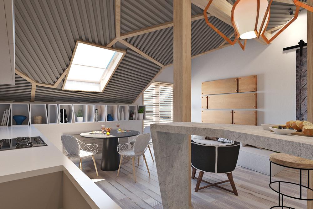 Необычный потолок в маленьком доме