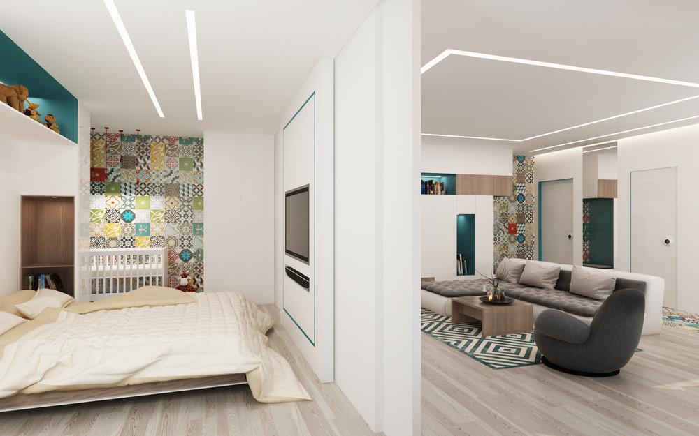 Спальня, детская и гостиная в маленьком доме