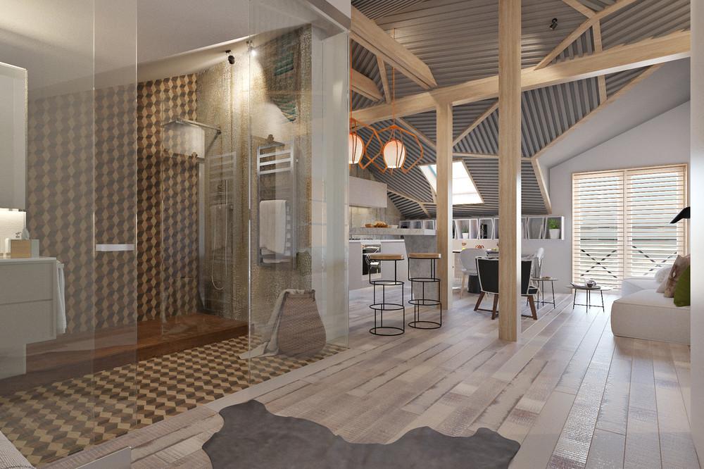 Интерьер маленького дома в промышленном стиле