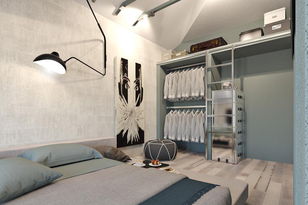 Гардеробная в спальне маленького дома