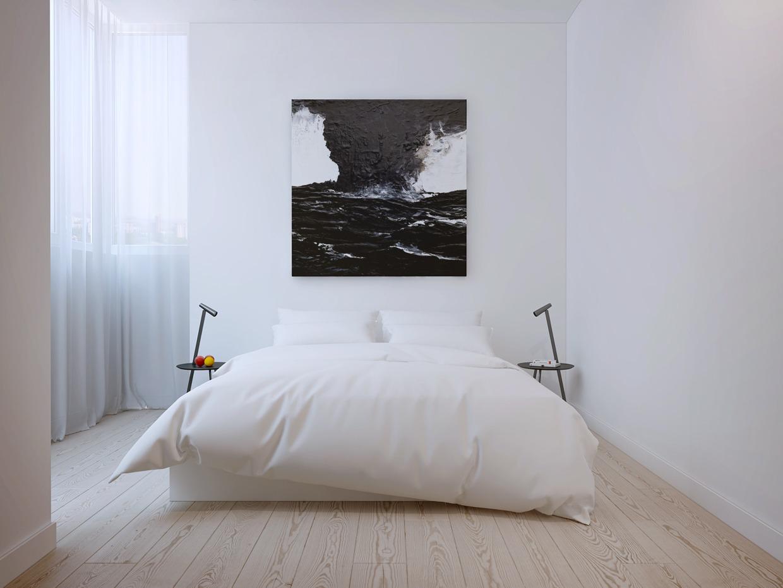 Картина на стене в белой спальне