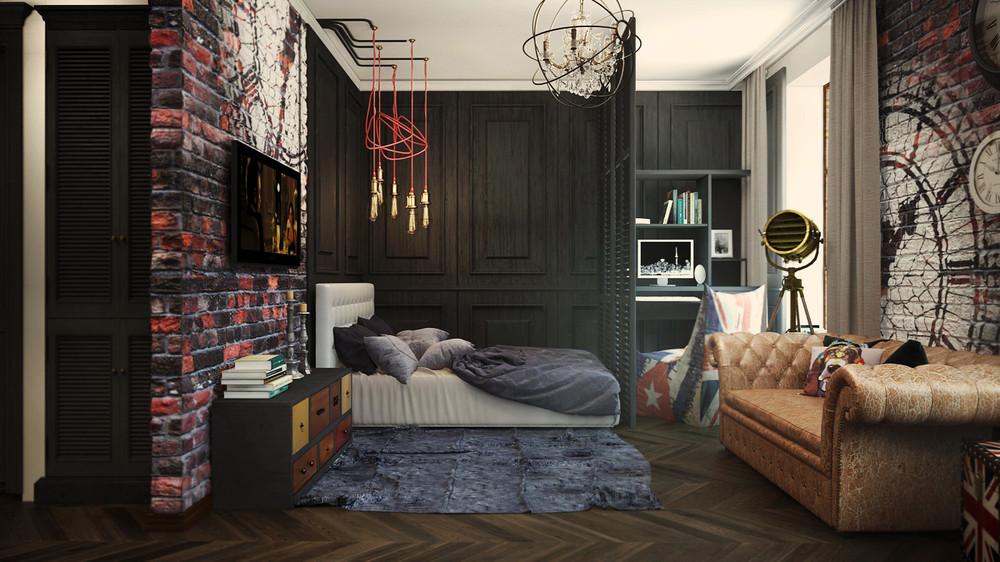 Спальня, кабинет и гостиная в маленьком доме