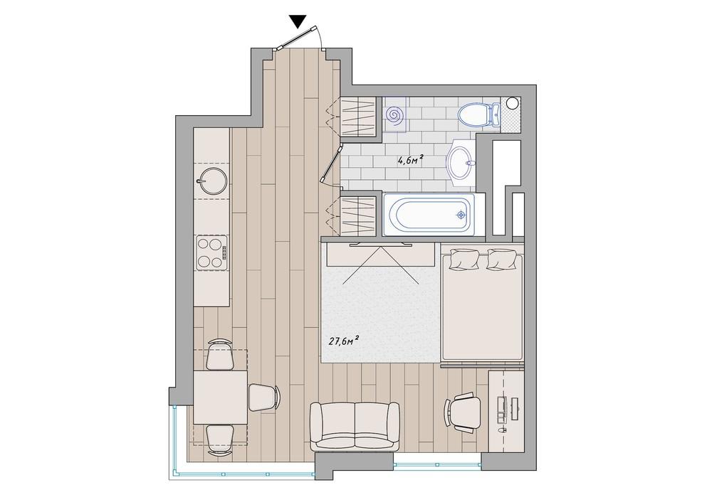 Планировка маленьких апартаментов