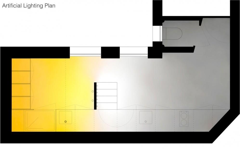 Планировка узкой двухуровневой квартиры-студии