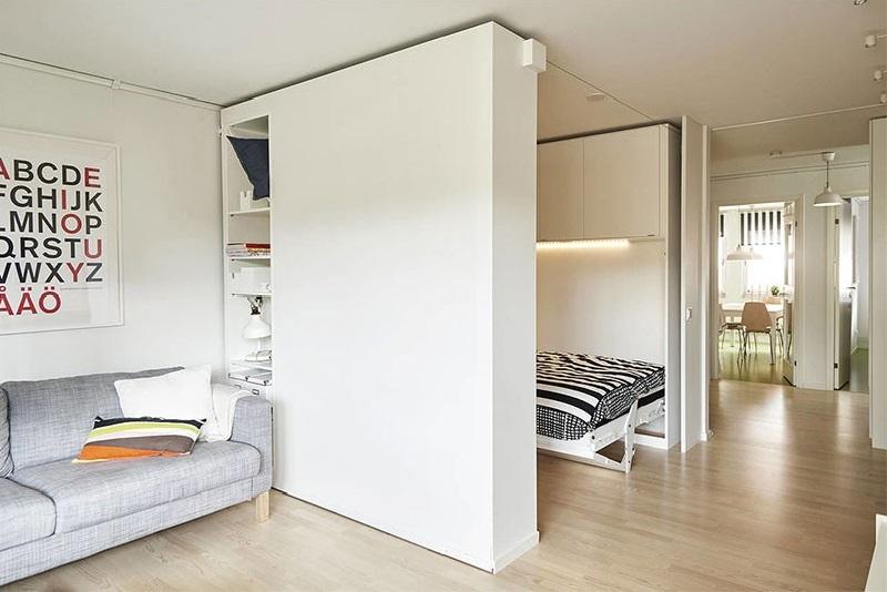 Передвижная стена в интерьере маленькой квартиры