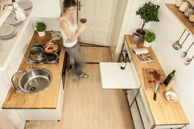 Трансформируемая мебель для узкой кухни