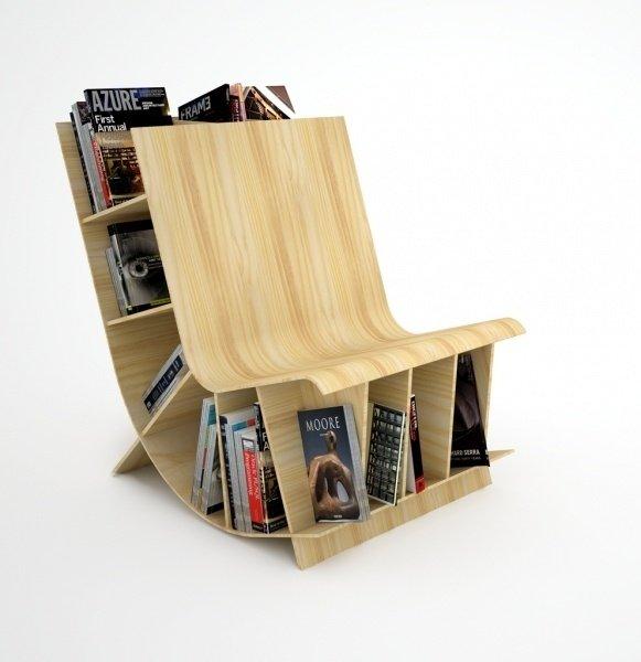Деревянный стул-книжный шкаф от студии Fishbol Design Atelier