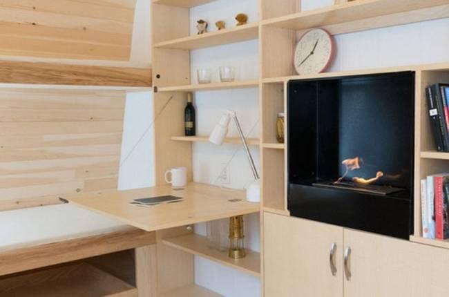Удобный мини-домик: фото из Онтарио. Электрический камин