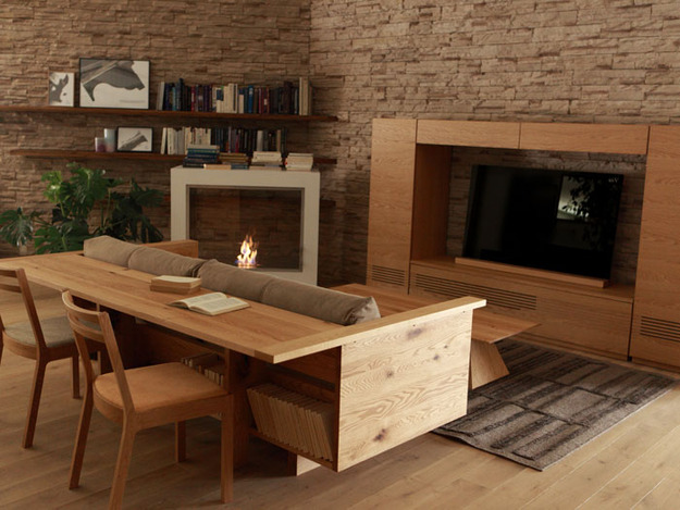 Диван-стол в гостиной
