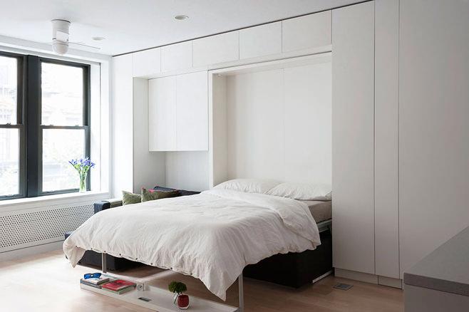 Спальня многофункциональной квартиры-трансформера в Нью-Йорке