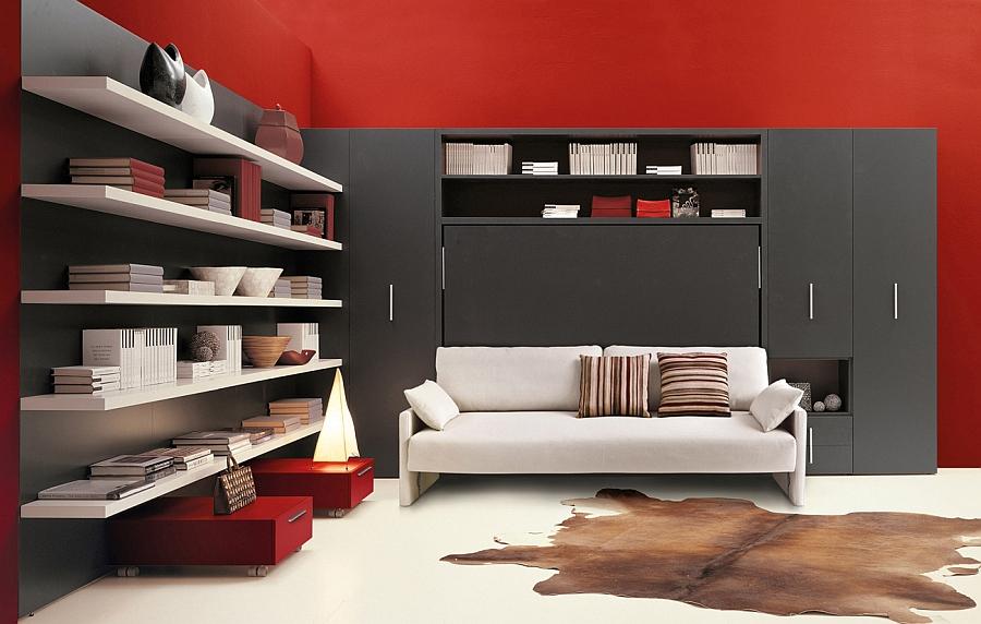 Белый диван в красно-чёрной гостиной