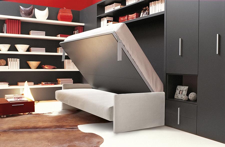 Раскладной диван-кровать в красно-чёрной гостиной