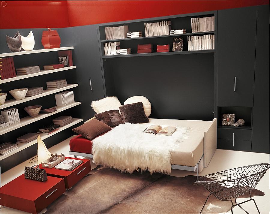 Кровать в красно-чёрной гостиной