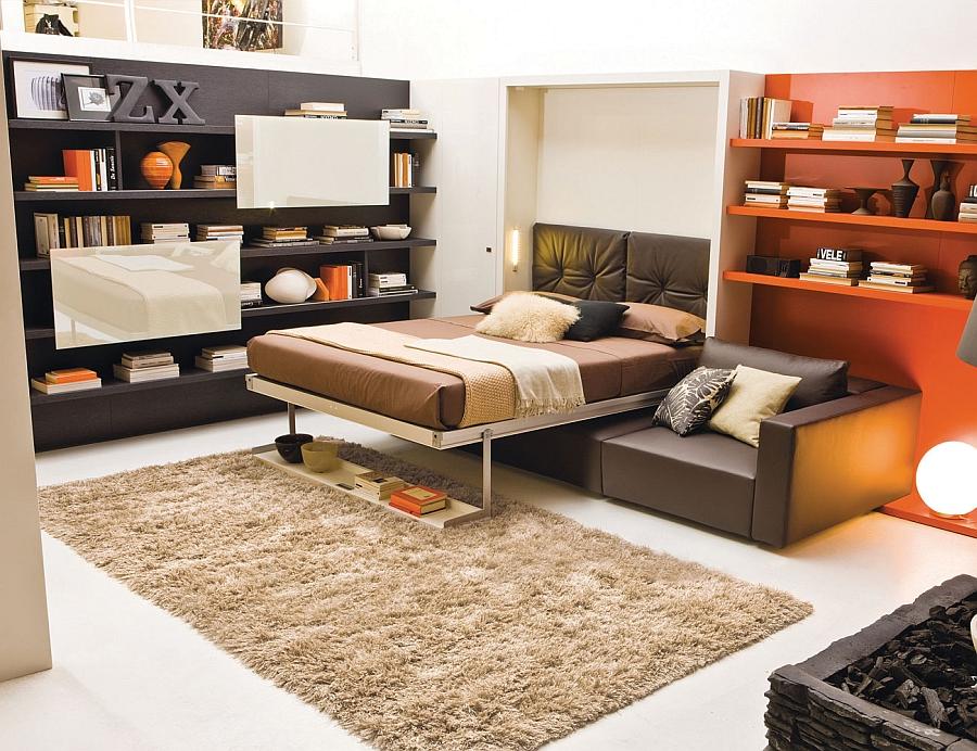 Раскладной диван-кровать в интерьере гостиной