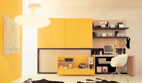 Рабочий кабинет в жёлтом цвете
