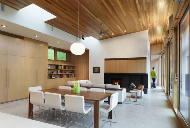Небольшой дизайнерский дом: камин