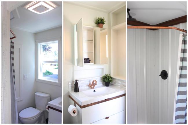 Ванная комната в небольшом доме на колёсах