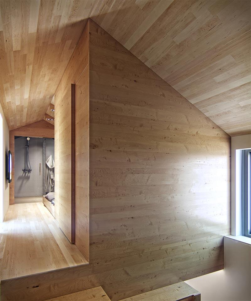 Деревянная отделка в коридоре