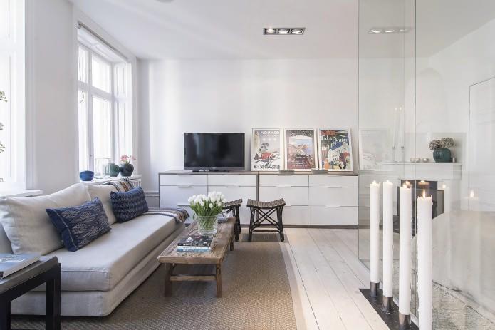 Гостиная квартиры-студии в скандинавском стиле