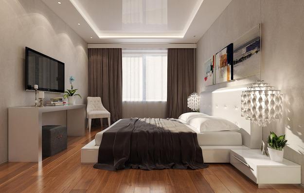 Точечная подсветка в спальне с низкими потолками