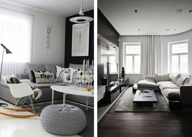 Гостиная с низкими потолками в серых тонах