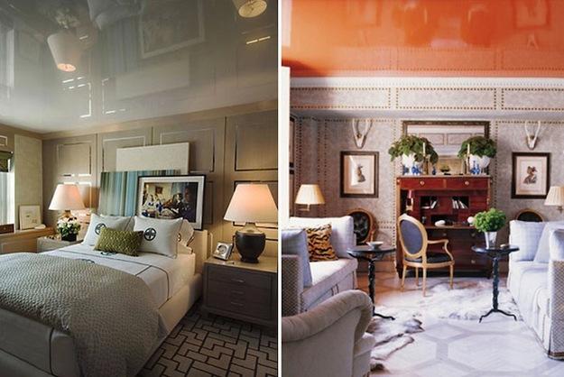 Натяжные потолки в спальне и гостиной
