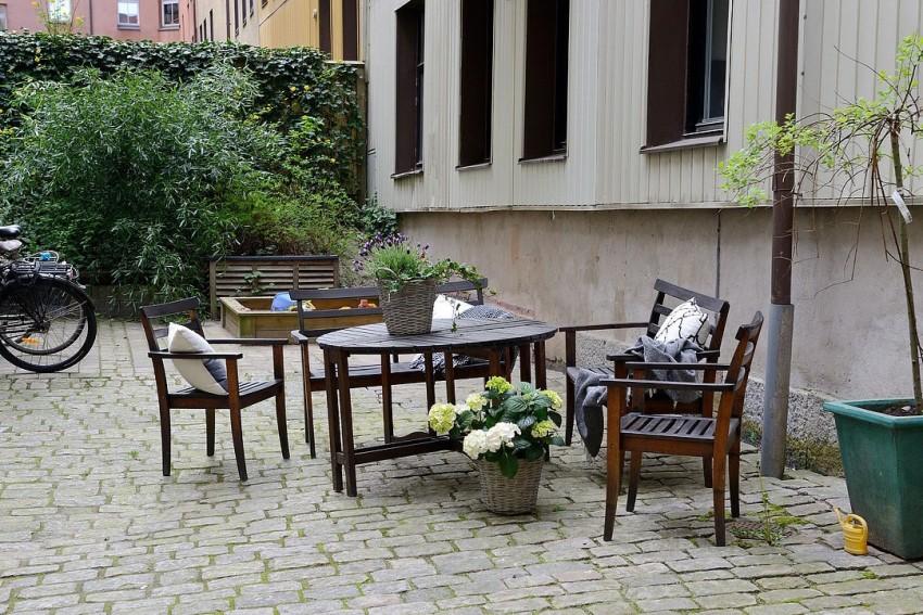 Терраса квартиры-студии в скандинавском стиле
