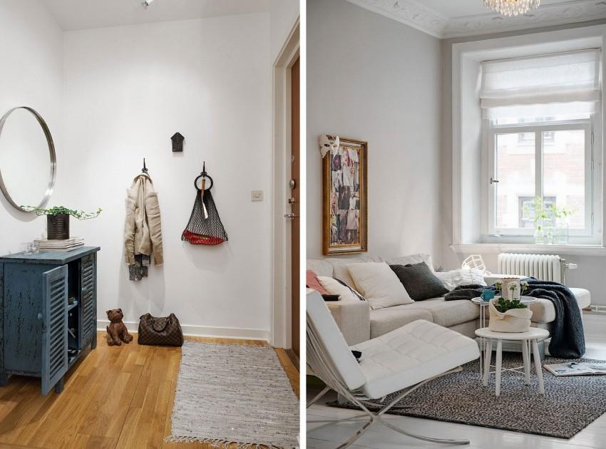 Прихожая и гостиная квартиры-студии в скандинавском стиле