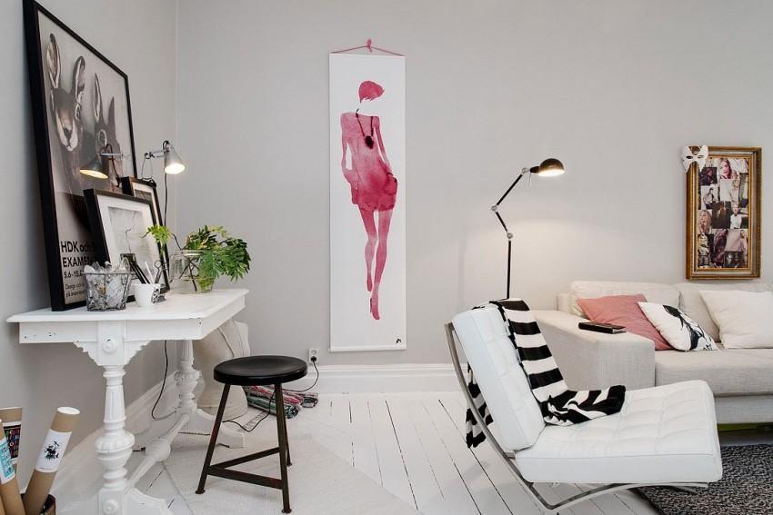 Рабочее место в гостиной квартиры-студии в скандинавском стиле