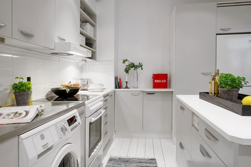 Кухня квартиры-студии в скандинавском стиле