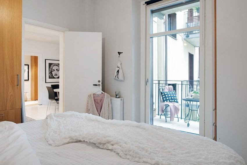 Спальня квартиры-студии в скандинавском стиле