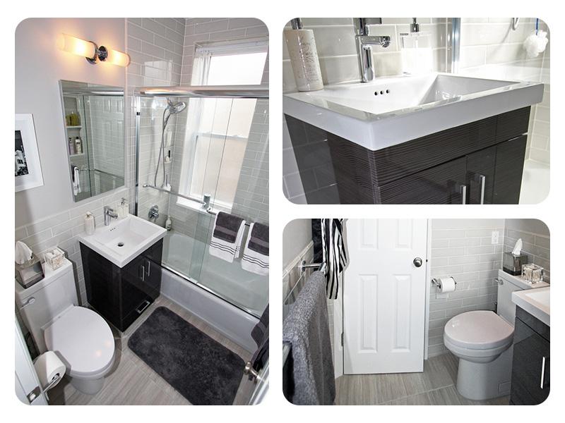 Интерьер маленькой ванной в чёрно-белом цвете