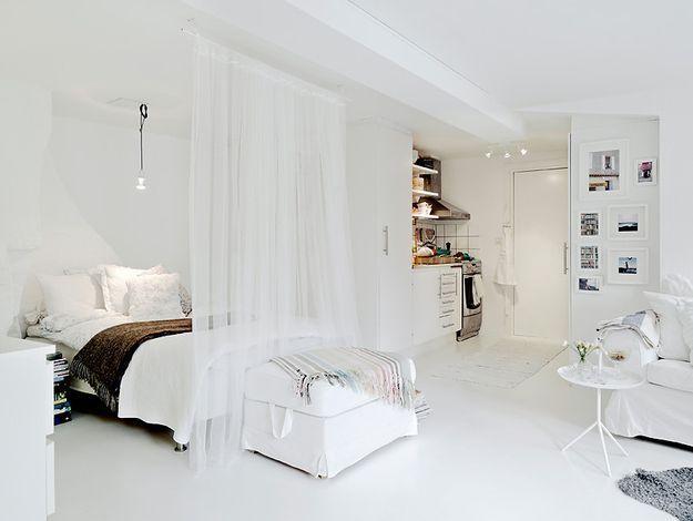 Оформление квартиры-студии в белом цвете