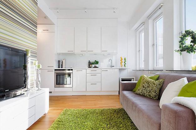Гостиная с кухней в белом цвете