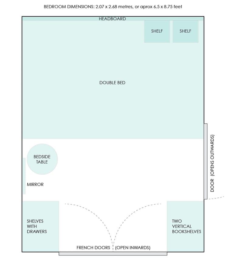 Планировка обустройства маленькой спальни