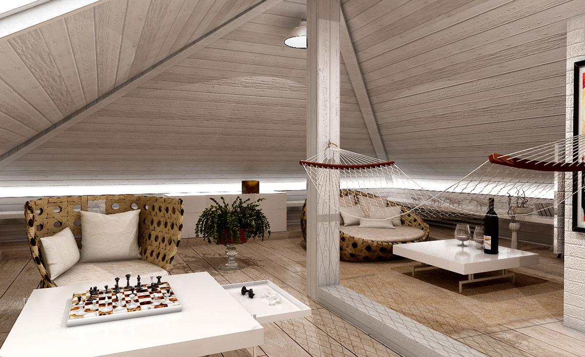 Комната отдыха в мансардном помещении