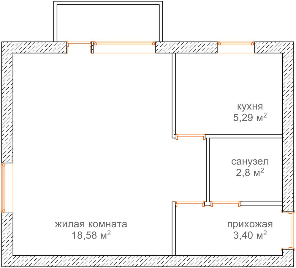 План квартиры площадью 30 кв м
