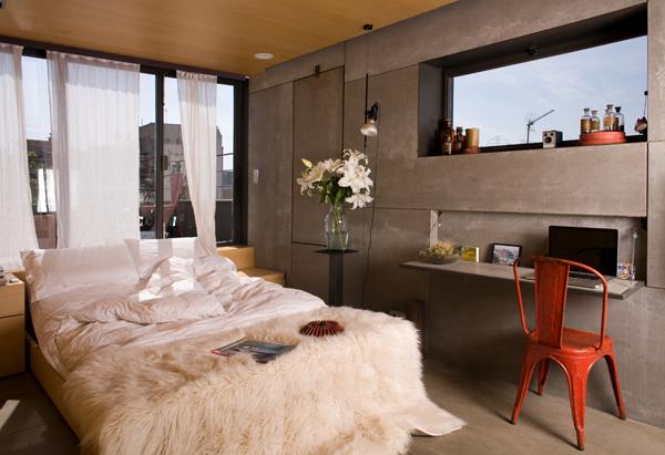 Спальня маленькой студии в Барселоне