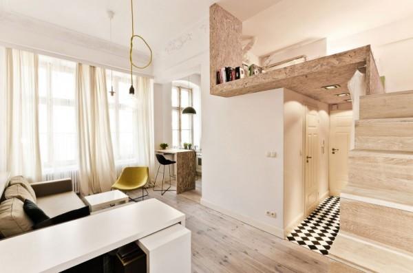 Интерьер маленькой двухъярусной квартиры