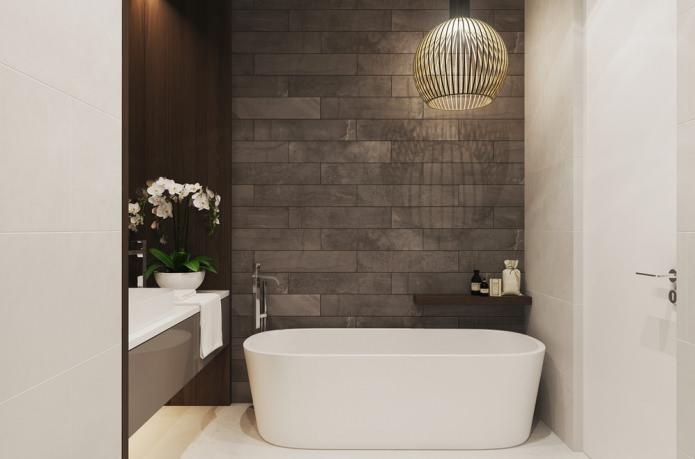 Интерьер ванной в бело-сером цвете
