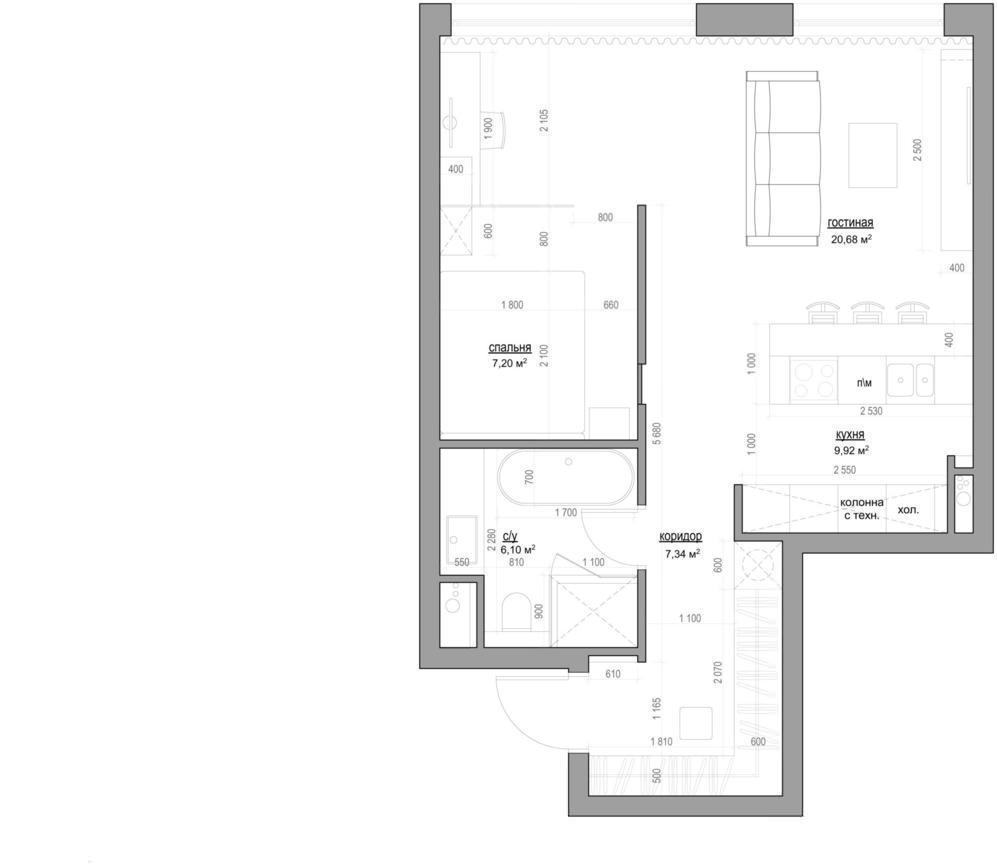 Планировка маленькой квартиры-студии с мебелью