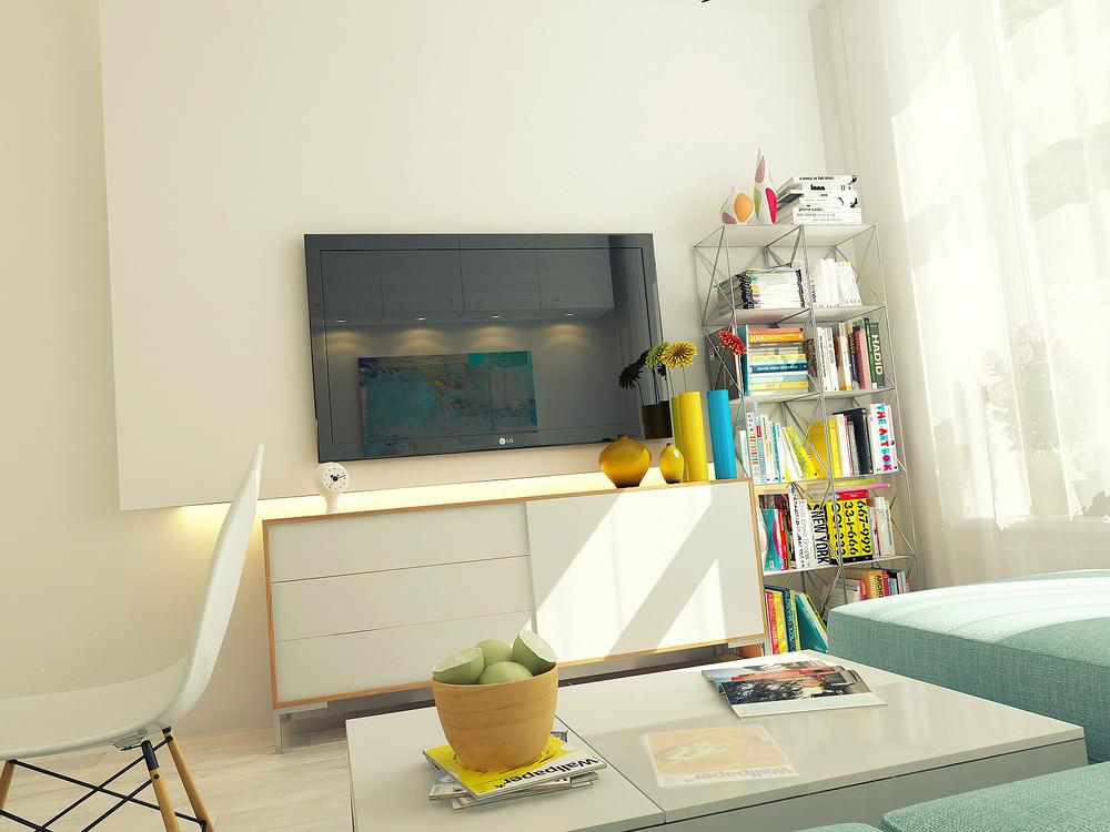 Книжный стеллаж в гостиной маленькой квартиры-студии