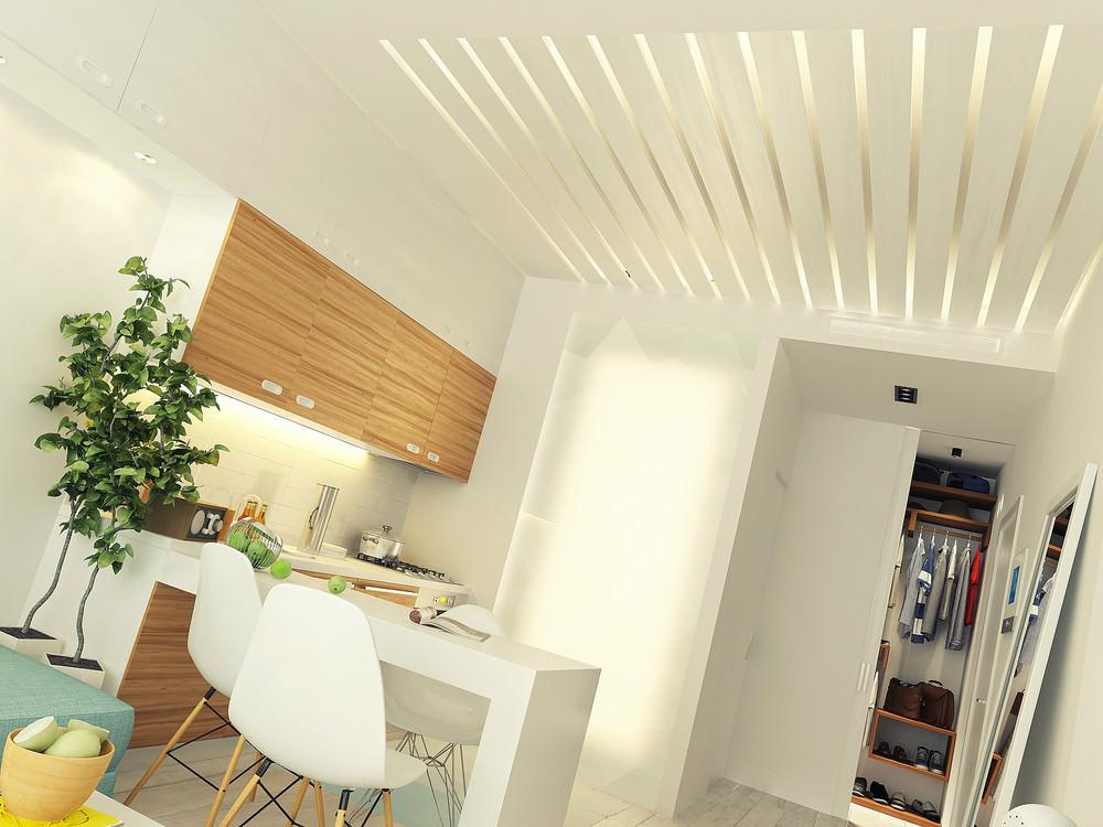 Кухня и прихожая маленькой квартиры-студии