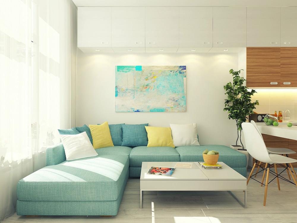 Гостиная маленькой квартиры-студии