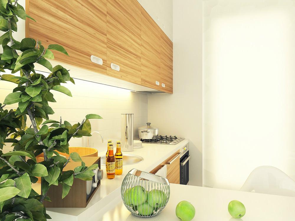 Кухня маленькой квартиры-студии
