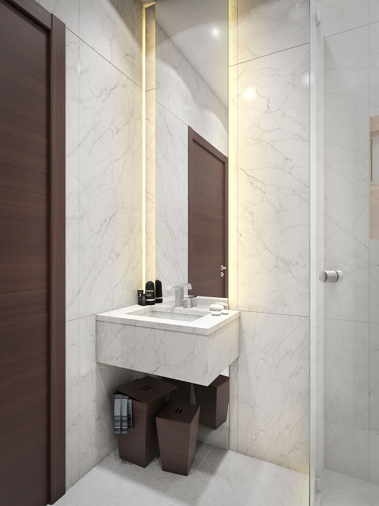 Мраморная отделка в ванной