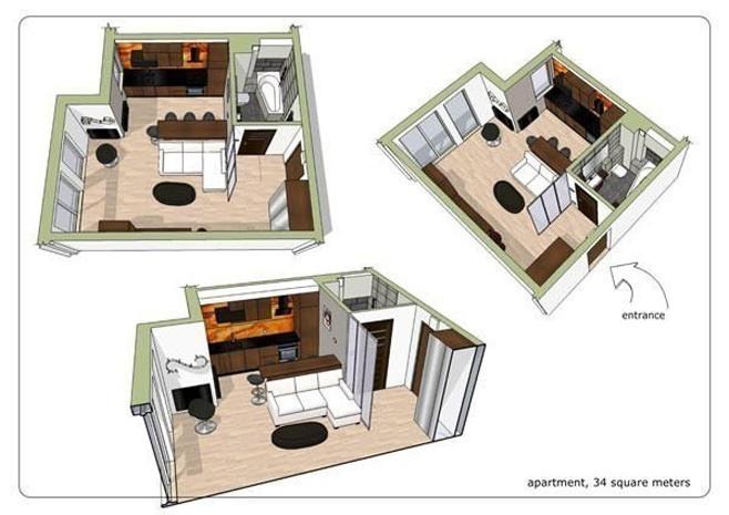 Планировка современной квартиры-студии