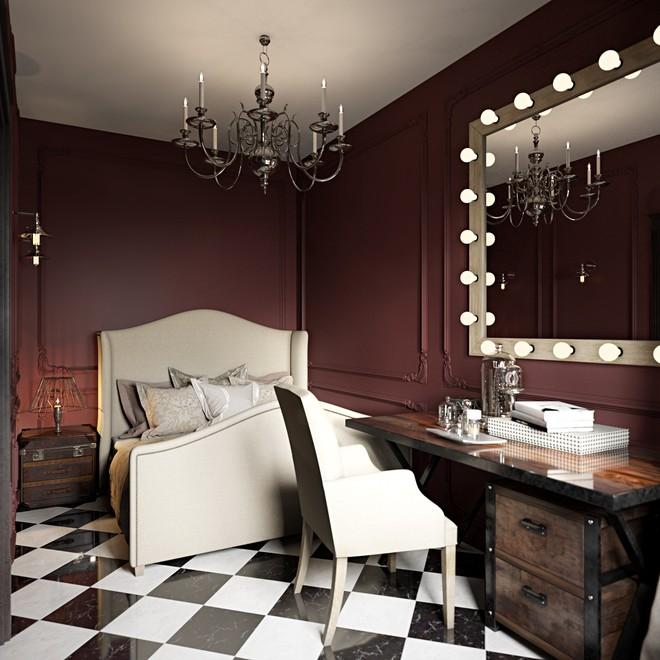 Богатая цветовая гамма в интерьере спальни