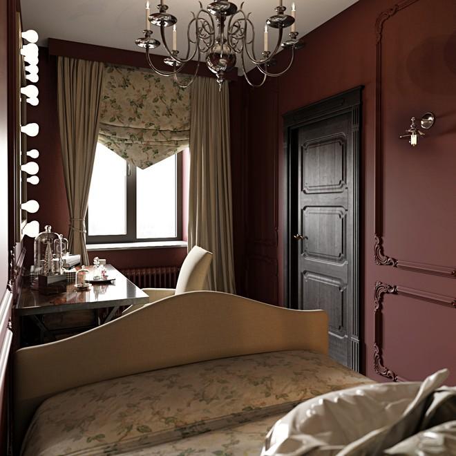 Столик у зеркала в небольшой спальне