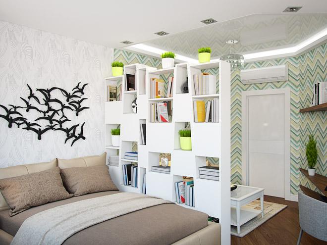 Стеллаж для книг, отделяющий спальню от гостиной